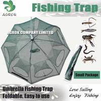 8 holes Umbrella Type Portable Foldable Fishing Trap Cast Net Crab FishingFish Minnow 80X80cm