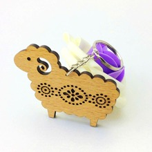 Custom art crafts laser cut wooden engraved key chains with sheep