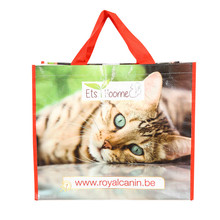 Custom logo printing good quality foldable recycled PP lamination woven grocery shopping bag