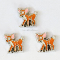 Yellow Enamel Lovely Cartoon Sika Deer Charms Fit Glass Memory Locket