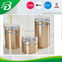 Plastic Round canister set airtight mason jar with METAL PAPER