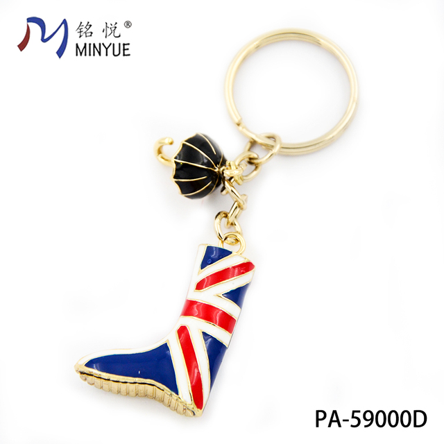 New arrival UK boot shoe keychain metal enamel keychain