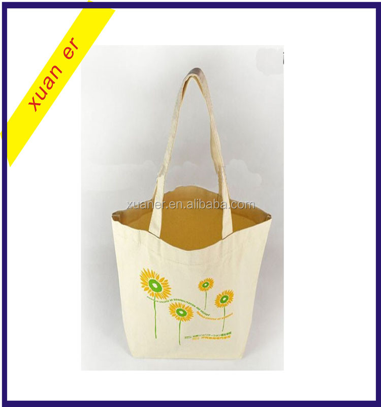 Beautiful flower pattern custom printed foldable cotton shopping tote bag