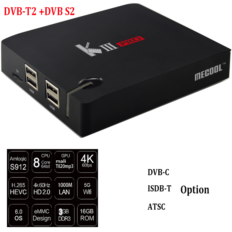 NEW ARRIVAL Combo S912 3G DDR 16G Flash K111 Pro Android DVB S2 T2 4k satellite receiver
