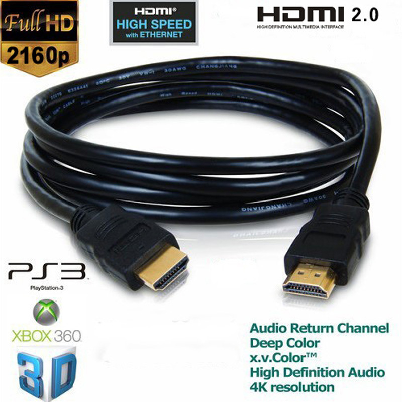 5pcs/lot Gold Plated 3m 9.9FT HDMI Male to Male Cabo Gold Plated Nylon Net, HDMI 2.0 Cable 2160P 4K*2K 3D Ethernet