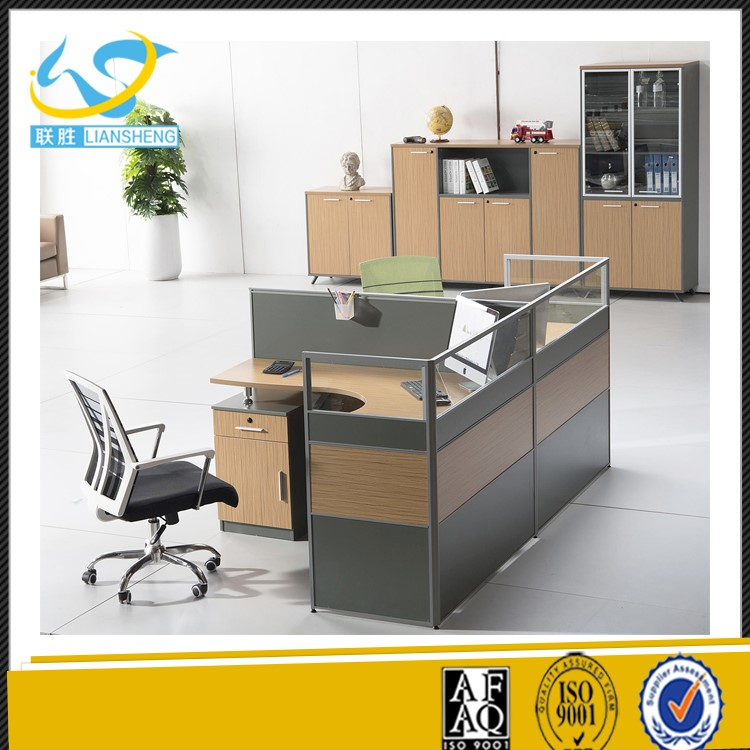 Factory cheap price malamine 4 people computer double sided office desk with drawers