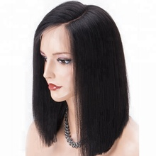 2018 Festival and Daily Wear Heavy Yaki Straight Wig Short Bob 4.5 Inch Virgin Remy Human Hair Lace Front Wig