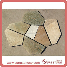 Yellow paving slate flagstone flooring tiles