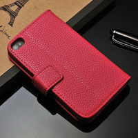 red fashion belt clip leather case for iphone 4