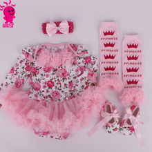 Newborn Baby Girl Floral Tutu Sets Pink Lace tutu dress Crib Shoes Headband leggings Girls 4Piece Baby Rompers Outfits