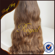 Factory Price Light Brown Long Layer Brazilian Virgin Hair Jewish Wig Wavy Hair