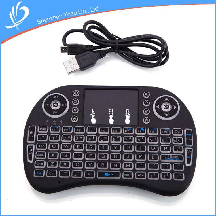 User-Friendly Ergonomic White Backlight 2.4ghz Mini Wireless Keyboard With Touchpad