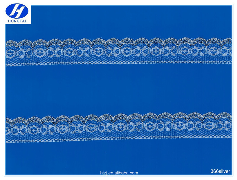 2016 Hongtai suit neck design 2.3cm popular beautiful silver lace trimming fabric
