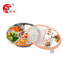Stainless steel 6 compartments korean round lunch box with cover