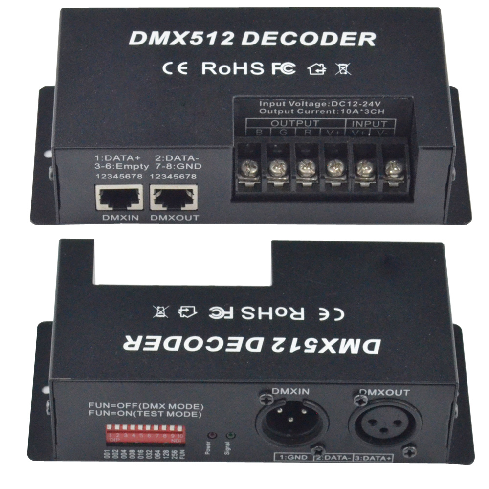 3 Channel 30A RGB DMX 512 LED Decoder Controller DMX dimmer use for DC12-24V RGB LED light