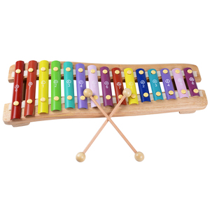 Rolimate Wooden Educational Preschool Learning 15 Key Notes Chromatic Glockenspiel Xylophone Toys.