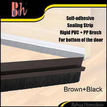 Self Adhesive Dustproof Windproof Sealing Strip Brown PVC PP Brush Draught Excluder Sweep Weather Stripping for Bottom of Door