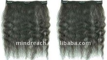 "Top quality 14"" kinky straight Malaysian virgin human hair clip in hair extension"