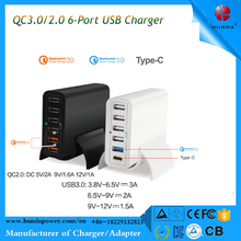 60W qualcomm quick charge 3.0 USB Charger, 6 Port USB charger, 5V 3A Type C charger for Nokia