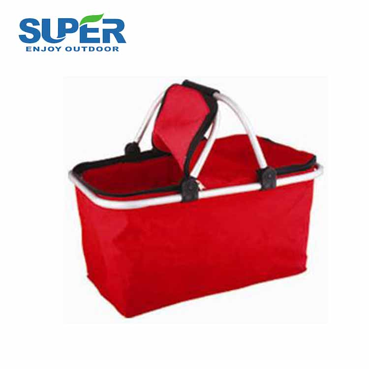 High quality Aluminum Frame Foldable Shopping folding food storage basket