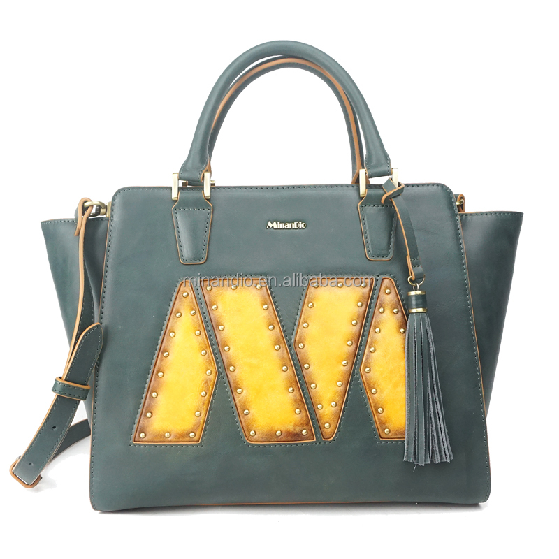 vegetable tan leather women handbag with brand M design/ shopping shoulder bag