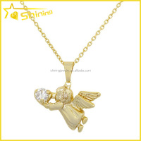 Christmas gift cute women small gold angel pendant