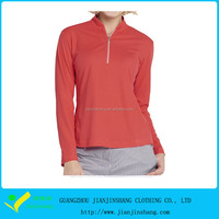 Wholesale Hot Red Color Long Sleeve Stand Collar Zipper Golf Shirt For Lady