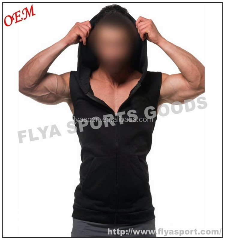 2018 Latest high quality blank sleeveless tank top pullover zipper gym singlet hoodies