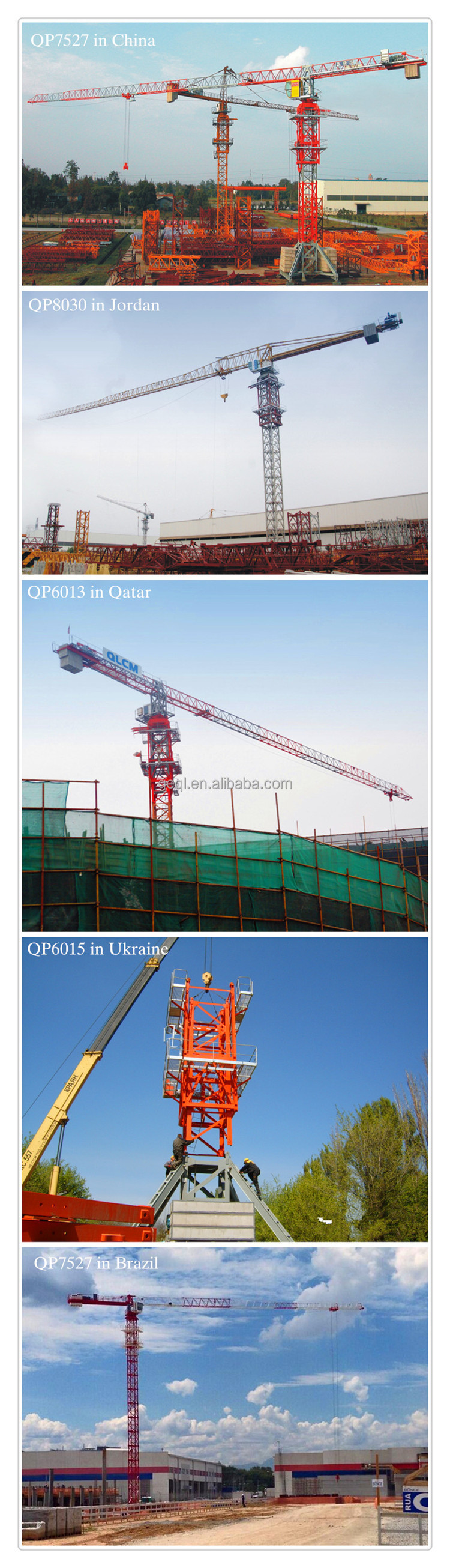 Travelling Topless Tower Crane QP6015(QLP125) In Ukraine