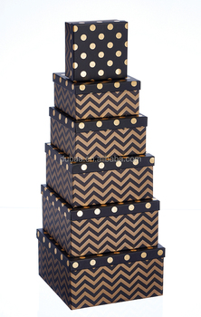 2017 Gift Boxes - Black With Gold Spots - Nest of 6 Square