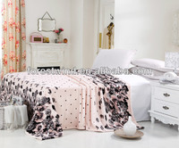 dot and flower printed blanket with 100% coral fleece material