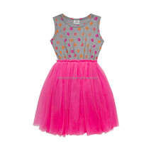 Hot sale girls pink o-neck sleeveless princess one-piece smocking dress children puffy tulle skirt