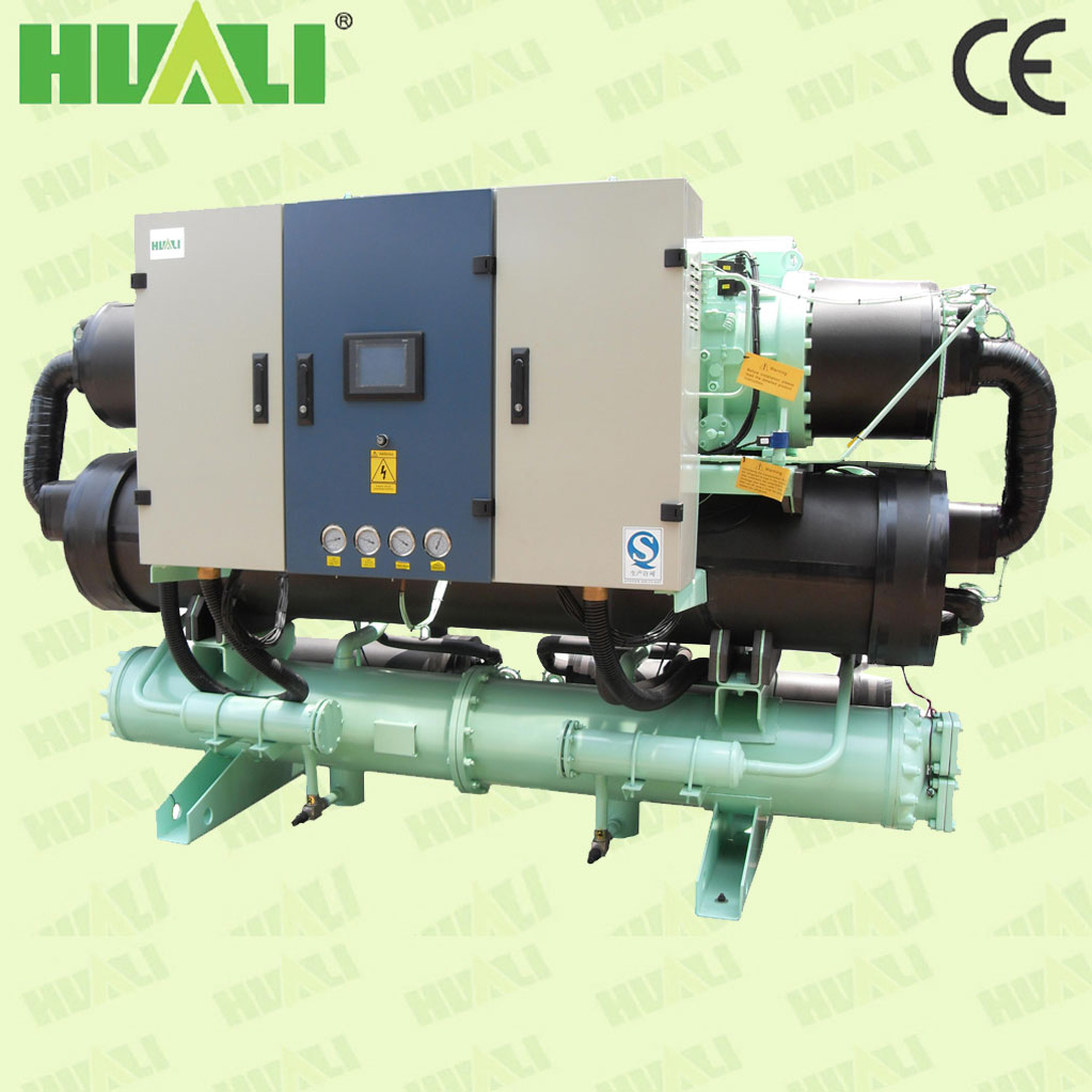 Huali CE certificated Food Processing industrial cold water screw chiller with heat recovery