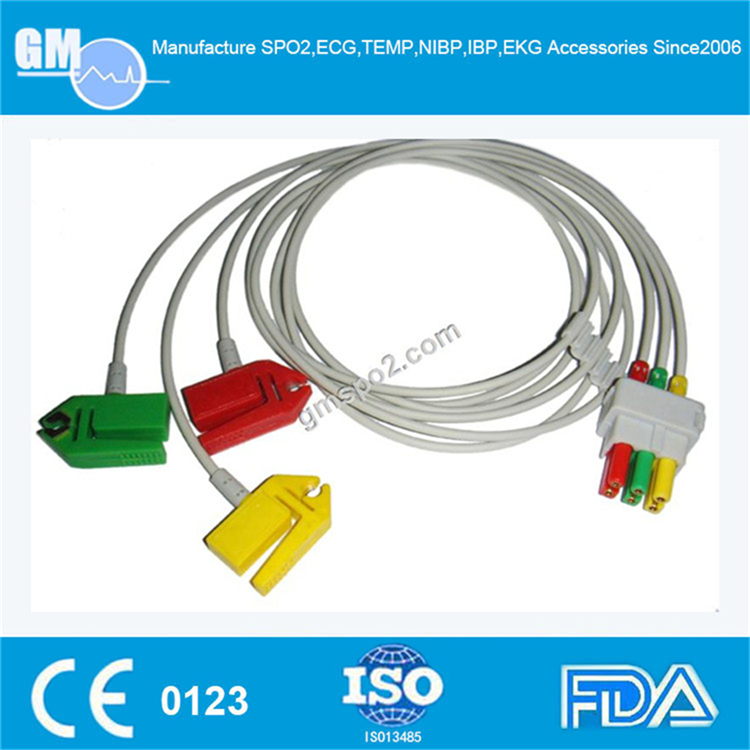 ECG adapter, ECG leadwire set, 3-lead, Grabber, IEC, 29in & 2PINCompatible with Datex-Ohmeda