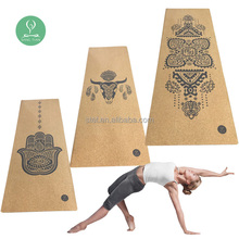 Wholesale cork yoga mat private label printed yoga matt 5mm eco friendly