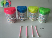 100 PC COLOR PS box and COLOR PP pole 100% cotton buds IN HEART BOX