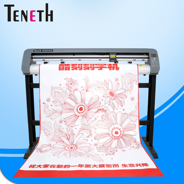 Teneth vinyl cutter with high precision steel axis ensure 5 meters paper feeding