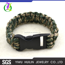 B115 Yiwu Huilin Jewelry Wholesale camouflage green fashion emergency whistle survival rope paracord bracelet
