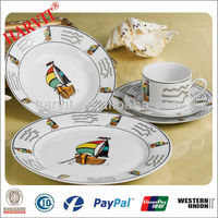 20pcs Various Style Rim Decals Beautiful White Ceramic Dinnerware Sets Suiting For Home Use/Daily Use/Restaurant/Party Tableware