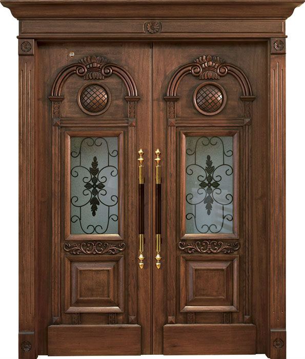 Double wood door design iron main gate designs wood door for Home main door interior design