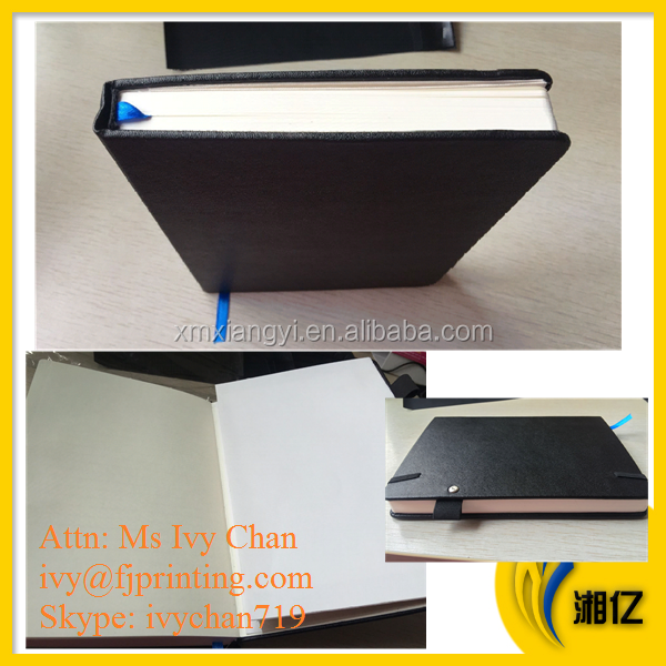 Hardcover PU notebook printing with elastic penholder and pocket