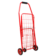 Foldable supermarket shopping cart with wheels handy metal basket shopping trolley