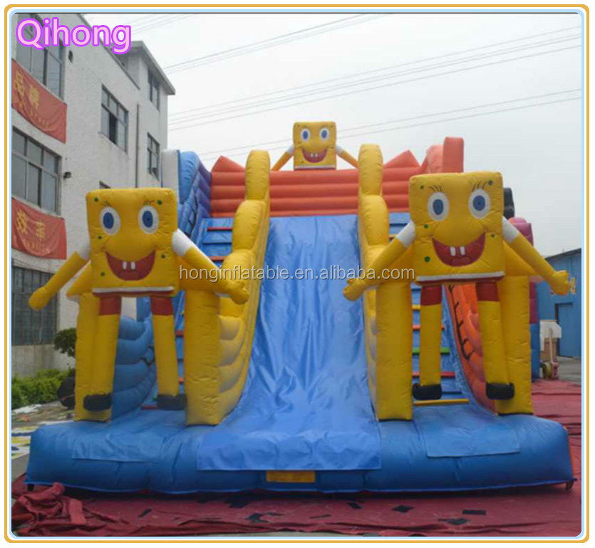 Promotional inflatable spongebob slide, inflatable bouncy castle with water slide