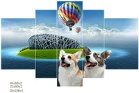 lovely animal and scenery five panel group canvas printing