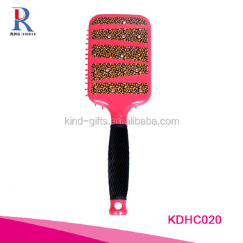 Leopard Paddle Brush with Bling Crystals