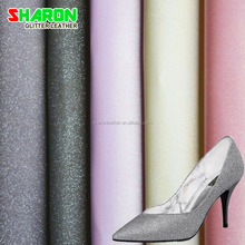 hot sale shoes upper material glitter and lace pu fabric leather
