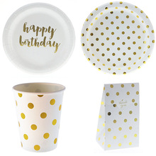 Custom Paper Plates Disposable Foil Golden Dot Tableware Kit Gold Paper Party Plate