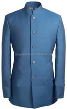stylish design high class classical Nehru stand collared navy custom men suit with five buttons