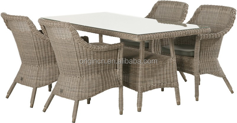 4 seater uk style classic outdoor poolside restaurant dining table set with airy light cane chair