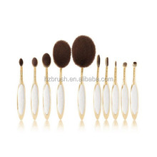 2017 latest private label hair tools rose gold oval makeup brush set
